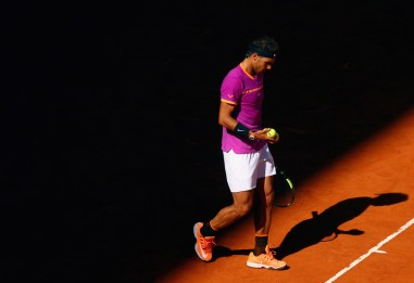 Rafael Nadal of Spain during his match against Fabio Fognini of Italy on day five of the Mutua Madrid Open tennis at La Caja Magica on May 10, 2017 in Madrid, Spain. (May 9, 2017 - Source: Clive Rose/Getty Images Europe)