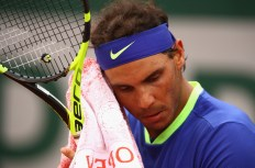 Rafael Nadal of Spain cools down during the mens singles first round match against Benoit Paire of France on day two of the 2017 French Open at Roland Garros on May 29, 2017 in Paris, France. (May 28, 2017 - Source: Clive Brunskill/Getty Images Europe)