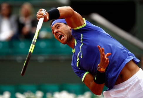 Rafael Nadal of Spain serves during mens singles quarter finals match against Pablo Carreno Busta of Spain on day eleven of the 2017 French Open at Roland Garros on June 7, 2017 in Paris, France. (June 6, 2017 - Source: Adam Pretty/Getty Images Europe)