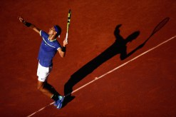 Rafael Nadal of Spain serves during the mens singles semi-final match against Dominic Thiem of Austria on day thirteen of the 2017 French Open at Roland Garros on June 9, 2017 in Paris, France. (June 8, 2017 - Source: Julian Finney/Getty Images Europe)