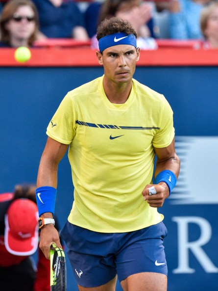 Rafael Nadal of Spain reacts after scoring a point against Borna Coric of Croatia during day six of the Rogers Cup presented by National Bank at Uniprix Stadium on August 9, 2017 in Montreal, Quebec, Canada. (Aug. 8, 2017 - Source: Minas Panagiotakis/Getty Images North America)