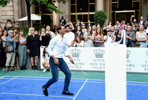 Professional tennis player Rafael Nadal competes during the 2017 Lotte New York Palace Invitational at Lotte New York Palace on August 24, 2017 in New York City. (Aug. 23, 2017 - Source: Jamie McCarthy/Getty Images North America)