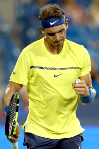 Rafael Nadal of Spain celebrates a point against Richard Gasquet of France during day 5 of the Western & Southern Open at the Lindner Family Tennis Center on August 16, 2017 in Mason, Ohio. (Aug. 15, 2017 - Source: Matthew Stockman/Getty Images North America)