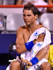 Rafael Nadal of Spain wipes himself down in between sets against Denis Shapovalov of Canada during day seven of the Rogers Cup presented by National Bank at Uniprix Stadium on August 10, 2017 in Montreal, Quebec, Canada. (Aug. 9, 2017 - Source: Minas Panagiotakis/Getty Images North America)