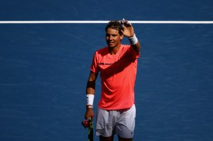 Rafael Nadal of Spain celebrates defeating Alexandr Dolgopolov of Ukraine after their fourth round Men's Singles match on Day Eight of the 2017 US Open at the USTA Billie Jean King National Tennis Center on September 4, 2017 in the Flushing neighborhood of the Queens borough of New York City. (Sept. 3, 2017 - Source: Clive Brunskill/Getty Images North America)
