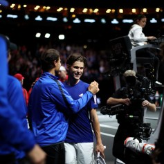 Dominic Thiem of Team Europe celebrates after winning his singles match against John Isner of Team World on the first day of the Laver Cup on September 22, 2017 in Prague, Czech Republic. The Laver Cup consists of six European players competing against their counterparts from the rest of the World. Europe will be captained by Bjorn Borg and John McEnroe will captain the Rest of the World team. The event runs from 22-24 September. (Sept. 21, 2017 - Source: Julian Finney/Getty Images Europe)