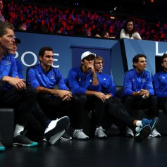 Team Europe sit on the players bench on the first day of the Laver Cup on September 22, 2017 in Prague, Czech Republic. The Laver Cup consists of six European players competing against their counterparts from the rest of the World. Europe will be captained by Bjorn Borg and John McEnroe will captain the Rest of the World team. The event runs from 22-24 September. (Sept. 21, 2017 - Source: Clive Brunskill/Getty Images Europe)