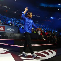 Rafael Nadal of Team Europe is introduced to the crowd on the first day of the Laver Cup on September 22, 2017 in Prague, Czech Republic. The Laver Cup consists of six European players competing against their counterparts from the rest of the World. Europe will be captained by Bjorn Borg and John McEnroe will captain the Rest of the World team. The event runs from 22-24 September. (Sept. 21, 2017 - Source: Clive Brunskill/Getty Images Europe)