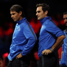 Roger Federer and Rafael Nadal of Team Europe watch the singles match between Dominic Thiem of Team Europe and John Isner of Team World on the first day of the Laver Cup on September 22, 2017 in Prague, Czech Republic. The Laver Cup consists of six European players competing against their counterparts from the rest of the World. Europe will be captained by Bjorn Borg and John McEnroe will captain the Rest of the World team. The event runs from 22-24 September. (Sept. 21, 2017 - Source: Julian Finney/Getty Images Europe)