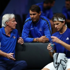 Dominic Thiem of Team Europe talks with Rafael Nadal and Bjorn Borg, Captain of Team Europe during his singles match against John Isner of Team World on the first day of the Laver Cup on September 22, 2017 in Prague, Czech Republic. The Laver Cup consists of six European players competing against their counterparts from the rest of the World. Europe will be captained by Bjorn Borg and John McEnroe will captain the Rest of the World team. The event runs from 22-24 September. (Sept. 21, 2017 - Source: Clive Brunskill/Getty Images Europe)