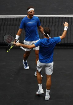 Roger Federer and Rafael Nadal of Team Europe celebrate winning match point during there doubles match against Jack Sock and Sam Querrey of Team World on Day 2 of the Laver Cup on September 23, 2017 in Prague, Czech Republic. The Laver Cup consists of six European players competing against their counterparts from the rest of the World. Europe will be captained by Bjorn Borg and John McEnroe will captain the Rest of the World team. The event runs from 22-24 September. (Sept. 22, 2017 - Source: Clive Brunskill/Getty Images Europe)