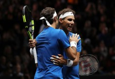 Roger Federer and Rafael Nadal of Team Europe celebrate winning match point during there doubles match against Jack Sock and Sam Querrey of Team World on Day 2 of the Laver Cup on September 23, 2017 in Prague, Czech Republic. The Laver Cup consists of six European players competing against their counterparts from the rest of the World. Europe will be captained by Bjorn Borg and John McEnroe will captain the Rest of the World team. The event runs from 22-24 September. (Sept. 22, 2017 - Source: Julian Finney/Getty Images Europe)