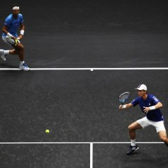 Rafael Nadal and Tomas Berdych of Team Europe in action during there doubles match against Nick Kyrgios ans Jack Sock of Team World on the first day of the Laver Cup on September 22, 2017 in Prague, Czech Republic. The Laver Cup consists of six European players competing against their counterparts from the rest of the World. Europe will be captained by Bjorn Borg and John McEnroe will captain the Rest of the World team. The event runs from 22-24 September. (Sept. 21, 2017 - Source: Julian Finney/Getty Images Europe)