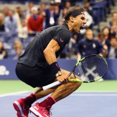 Rafael Nadal of Spain celebrates after defeating Juan Martin del Potro of Argentina in their Men's Singles Semifinal match on Day Twelve of the 2017 US Open at the USTA Billie Jean King National Tennis Center on September 8, 2017 in the Flushing neighborhood of the Queens borough of New York City. Rafael Nadal defeated Juan Martin del Potro in the fourth set with a score of 4-6, 6-0, 6-3, 6-2. (Sept. 7, 2017 - Source: Al Bello/Getty Images North America)