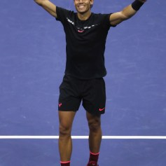 Rafael Nadal of Spain celebrates after defeating Juan Martin del Potro of Argentina in their Men's Singles Semifinal match on Day Twelve of the 2017 US Open at the USTA Billie Jean King National Tennis Center on September 8, 2017 in the Flushing neighborhood of the Queens borough of New York City. Rafael Nadal defeated Juan Martin del Potro in the fourth set with a score of 4-6, 6-0, 6-3, 6-2. (Sept. 7, 2017 - Source: Matthew Stockman/Getty Images North America)