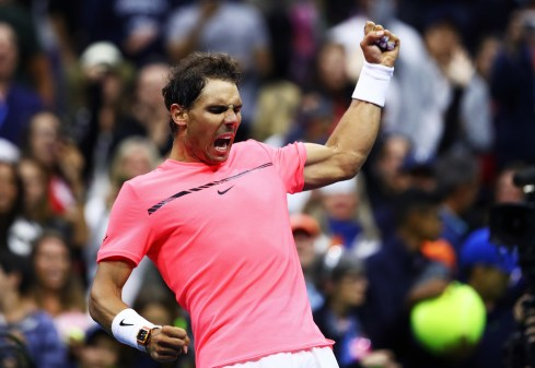 Rafael Nadal of Spain reacts after his third round match win over Leonardo Mayer of Argentina during their third round Men's Singles match on Day Six of the 2017 US Open at the USTA Billie Jean King National Tennis Center on September 2, 2017 in the Flushing neighborhood of the Queens borough of New York City. (Sept. 1, 2017 - Source: Clive Brunskill/Getty Images North America)