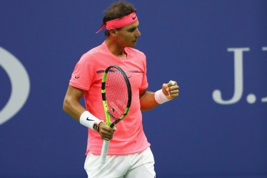 Rafael Nadal of Spain celebrates defeating Andrey Rublev of Russia after their Men's Singles Quarterfinal match on Day Ten of the 2017 US Open at the USTA Billie Jean King National Tennis Center on September 6, 2017 in the Flushing neighborhood of the Queens borough of New York City. (Sept. 5, 2017 - Source: Al Bello/Getty Images North America)
