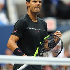 Rafael Nadal of Spain celebrates winning the first set over Kevin Anderson of South Africa during their Men's Singles finals match on Day Fourteen of the 2017 US Open at the USTA Billie Jean King National Tennis Center on September 10, 2017 in the Flushing neighborhood of the Queens borough of New York City. (Sept. 9, 2017 - Source: Clive Brunskill/Getty Images North America)