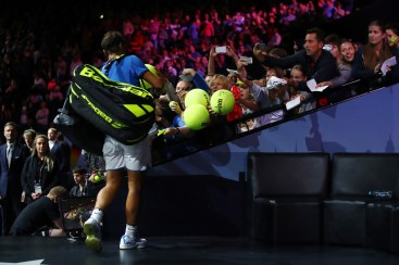 Rafael Nadal of Team Europe signs tennis ball on the final day of the Laver cup on September 24, 2017 in Prague, Czech Republic. The Laver Cup consists of six European players competing against their counterparts from the rest of the World. Europe will be captained by Bjorn Borg and John McEnroe will captain the Rest of the World team. The event runs from 22-24 September. (Sept. 23, 2017 - Source: Clive Brunskill/Getty Images Europe)