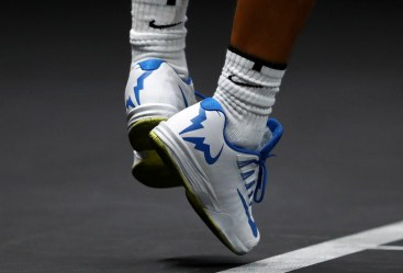 Rafael Nadal of Team Europe shoes during his mens singles match against John Isner of Team World on the final day of the Laver cup on September 24, 2017 in Prague, Czech Republic. The Laver Cup consists of six European players competing against their counterparts from the rest of the World. Europe will be captained by Bjorn Borg and John McEnroe will captain the Rest of the World team. The event runs from 22-24 September. (Sept. 23, 2017 - Source: Clive Brunskill/Getty Images Europe)