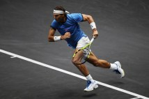 Rafael Nadal of Team Europe on the run during his mens singles match against John Isner of Team World on the final day of the Laver cup on September 24, 2017 in Prague, Czech Republic. The Laver Cup consists of six European players competing against their counterparts from the rest of the World. Europe will be captained by Bjorn Borg and John McEnroe will captain the Rest of the World team. The event runs from 22-24 September. (Sept. 23, 2017 - Source: Julian Finney/Getty Images Europe)