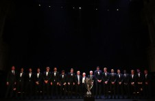 Team Europe and Team World line up on stage with John Mcenroe, Bjorn Borg and Rod Laver at the Laver Cup Gala dinner ahead of the Laver Cup on September 21, 2017 in Prague, Czech Republic. The Laver Cup consists of six European players competing against their counterparts from the rest of the World. Europe will be captained by Bjorn Borg and John McEnroe will captain the Rest of the World team. The event runs from 22-24 September. (Sept. 20, 2017 - Source: Julian Finney/Getty Images Europe)