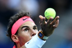 Spain's Rafael Nadal serves the ball to Argentina's Leonardo Mayer during their 2017 US Open Men's Singles match at the USTA Billie Jean King National Tennis Center in New York on September 2, 2017. / AFP PHOTO / Jewel SAMAD
