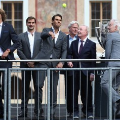 Team Europe greet the fans ahead of the Laver Cup on September 20, 2017 in Prague, Czech Republic. The Laver Cup consists of six European players competing against their counterparts from the rest of the World. Europe will be captained by Bjorn Borg and John McEnroe will captain the Rest of the World team. The event runs from 22-24 September. (Sept. 19, 2017 - Source: Julian Finney/Getty Images Europe)