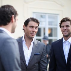Rafael Nadal of Spain and Dominic Thiem of Austria look on during a photoshoot ahead of the Laver Cup on September 20, 2017 in Prague, Czech Republic. The Laver Cup consists of six European players competing against their counterparts from the rest of the World. Europe will be captained by Bjorn Borg and John McEnroe will captain the Rest of the World team. The event runs from 22-24 September. (Sept. 19, 2017 - Source: Julian Finney/Getty Images Europe)