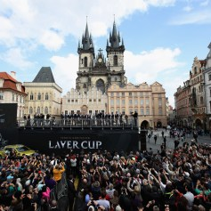 A general view as Rod Laver and the two sides speak to the fans in the city centre ahead of the Laver Cup on September 20, 2017 in Prague, Czech Republic. The Laver Cup consists of six European players competing against their counterparts from the rest of the World. Europe will be captained by Bjorn Borg and John McEnroe will captain the Rest of the World team. The event runs from 22-24 September. (Sept. 19, 2017 - Source: Julian Finney/Getty Images Europe)