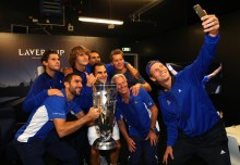 Marin Cilic, Dominic Thiem, Alexander Zverev, Rafael Nadal, Roger Federer, Bjorn Borg, Thomas Enqvist and Tomas Berdych of Team Europe lift the Laver Cup trophy on the final day of the Laver cup on September 24, 2017 in Prague, Czech Republic. The Laver Cup consists of six European players competing against their counterparts from the rest of the World. Europe will be captained by Bjorn Borg and John McEnroe will captain the Rest of the World team. The event runs from 22-24 September. (Sept. 23, 2017 - Source: Clive Brunskill/Getty Images Europe)