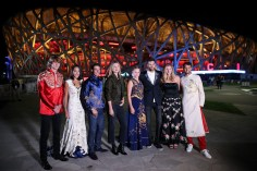 (L-R) Alexander Zverev of Germany, Zhang Shuai of China, Rafael Nadal of Spain, Maria Sharapova of Russia, Jelena Ostapenko of Latvia; Martin Del Potro of Argentina, Petra Kvitova of Czech Republic and Grigor Dimitrov of Bulgaria poses for a picture front of the National Stadium before the 2017 China Open Player Party on October 1, 2017 in Beijing, China. (Sept. 30, 2017 - Source: Lintao Zhang/Getty Images AsiaPac)
