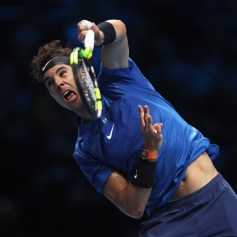 Rafael Nadal of Spain serves in his Singles match against David Goffin of Belgium during day two of the Nitto ATP World Tour Finals at O2 Arena on November 13, 2017 in London, England. (Nov. 12, 2017 - Source: Julian Finney/Getty Images Europe)