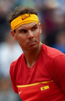 VALENCIA, SPAIN - APRIL 06: Rafael Nadal of Spain looks on against Philipp Kohlschreiber of Germany during day one of the Davis Cup World Group Quarter Final match between Spain and Germany at Plaza de Toros de Valencia on April 6, 2018 in Valencia, Spain. (Photo by Manuel Queimadelos Alonso/Getty Images)