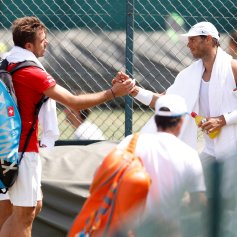Tennis - Wimbledon Preview - All England Lawn Tennis and Croquet Club, London, Britain - July 1, 2018 Spain's Rafael Nadal and Switzerland's Stanislas Wawrinka shake hands during practice REUTERS/Peter Nicholls