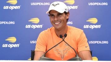 August 24, 2018 - Rafael Nadal speaks to the press during media day at the 2018 US Open. USTA/Mike Lawrence