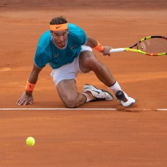 Rafael Nadal (SPA) celebrates the victory in his Mens Final match against Novak Djokovic (SRB) during Internazionali BNL D'Italia Italian Open at the Foro Italico, Rome, Italy on 19 May 2019. (Photo by Giuseppe Maffia/NurPhoto via Getty Images)