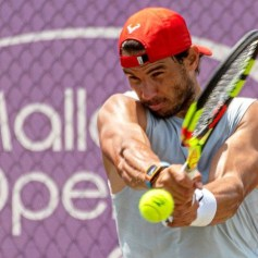 epa07663598 Spanish tennis player Rafael Nadal attends a training session at the Country Club in Santa Posa, Mallorca, Spain, 21 June 2019. Nadal prepares for the upcoming Wimbledon Championships. EPA-EFE/CATI CLADERA