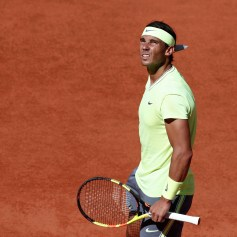 Tennis - French Open - Roland Garros, Paris, France - June 2, 2019. Spain's Rafael Nadal reacts during his fourth round match against Argentina's Juan Ignacio Londero. REUTERS/Benoit Tessier