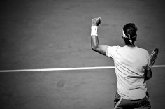 PARIS, FRANCE - JUNE 07: (EDITOR'S NOTE: This image was converted to black and white) Rafael Nadal of Spain reacts after winning his mens singles semi-final match against Roger Federer of Switzerland during Day thirteen of the 2019 French Open at Roland Garros on June 07, 2019 in Paris, France. (Photo by Aurelien Meunier/Getty Images)