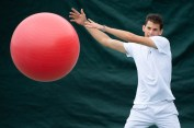 Dominic Thiem (AUT) in the competitors warm up area before practice at The Championships 2019. Held at The All England Lawn Tennis Club, Wimbledon. Day -5 Wednesday 26/06/2019. Credit: AELTC/Thomas Lovelock.