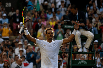 LONDON, ENGLAND - JULY 02: Rafael Nadal of Spain celebrates his victory over Yuichi Sugita of Japan during Day 2 of The Championships - Wimbledon 2019 at All England Lawn Tennis and Croquet Club on July 02, 2019 in London, England. (Photo by TPN/Getty Images)