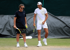 Rafael Nadal with his coach Francisco Roig on day eight of the Wimbledon Championships at the All England Lawn Tennis and Croquet Club, Wimbledon. (Photo by Mike Egerton/PA Images via Getty Images)
