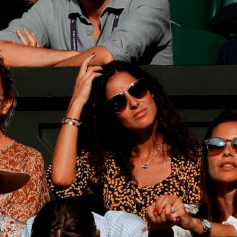 Maria Xisca Perello, girlfriend of Spain's Rafael Nadal, sits in the crowd as Nadal plays against Switzerland's Roger Federer during their men's singles semi-final match on day 11 of the 2019 Wimbledon Championships at The All England Lawn Tennis Club in Wimbledon, southwest London, on July 12, 2019. (Photo by Adrian DENNIS / AFP) / RESTRICTED TO EDITORIAL USE (Photo credit should read ADRIAN DENNIS/AFP/Getty Images)