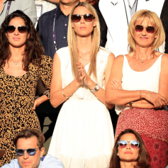 Xisca Perello, girlfriend of Rafael Nadal (left), Maria Isabel Nadal, sister (centre) of Rafael Nadal and Ana Maria Parera, mother of Rafael Nadal on day eleven of the Wimbledon Championships at the All England Lawn Tennis and Croquet Club, Wimbledon. (Photo by Mike Egerton/PA Images via Getty Images)