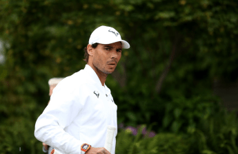 Rafael Nadal during practices on Middle Sunday Practice of the Wimbledon Championships at the All England Lawn Tennis and Croquet Club, Wimbledon. (Photo by Steven Paston/PA Images via Getty Images)