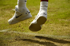LONDON, ENGLAND - JULY 04: A detailed view of the shoes of Rafael Nadal of Spain in his Men's Singles second round match against Nick Kyrgios of Australia during Day four of The Championships - Wimbledon 2019 at All England Lawn Tennis and Croquet Club on July 04, 2019 in London, England. (Photo by Clive Brunskill/Getty Images)