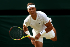 LONDON, ENGLAND - JULY 04: Rafael Nadal of Spain serves in his Men's Singles second round match against Nick Kyrgios of Australia during Day four of The Championships - Wimbledon 2019 at All England Lawn Tennis and Croquet Club on July 04, 2019 in London, England. (Photo by Clive Brunskill/Getty Images)