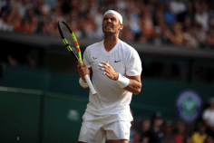 Rafael Nadal reacts during his match on day four of the Wimbledon Championships at the All England Lawn Tennis and Croquet Club, Wimbledon. (Photo by Adam Davy/PA Images via Getty Images)