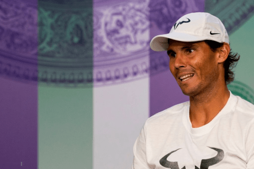 Spain's Rafael Nadal speaks during a press conference at The All England Tennis Club in Wimbledon, southwest London, on July 12, 2019 after losing his semi-final match against Switzerland's Roger Federer. (Photo by Adam WARNER / various sources / AFP) / RESTRICTED TO EDITORIAL USE (Photo credit should read ADAM WARNER/AFP/Getty Images)